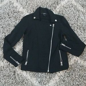 Forever 21 black knit moto jacket